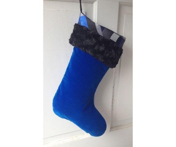 Handmade Large Modern Christmas Stocking - Blue Velvet - Heirloom Holiday Decor
