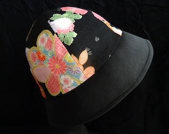 Gorgeous Japanes Flower SAKURA Print Reversible Fabric Hat