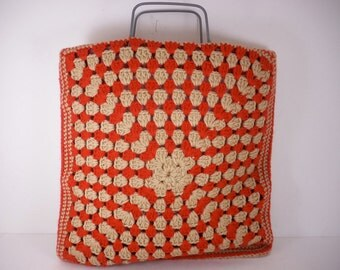 Vintage 70s Afghan bag granny square knit tote orange