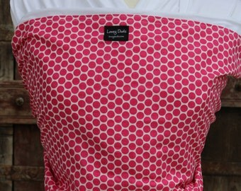 Ready To Ship-ORGANIC COTTON Baby Wrap Sling Carrier-Hot Pink Dots  on White-DVD Included-One Size Fits All-Newborn -Toddler