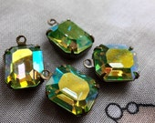 Swarovski Vintage Peridot AB 12x10mm Glass Octagon Drops 4 Pcs