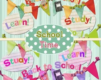 Buy 1 Get 1 Free School Time - Banners - Fun Clipart -  INSTANT Download