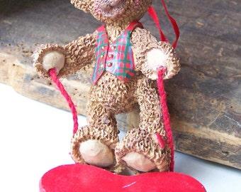 Kurt S. Adler Ornament, Vintage Kurt S. Adler, Holly Bearies Ornament, Vintage Holly Bearies Bear, Etsy, Etsy Vintage, Bear Ornament