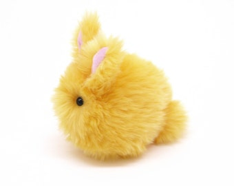 Stuffed Bunny Stuffed Animal Cute Plush Toy Bunny Kawaii Plushie Daffodil the Fluffy Yellow Easter Bunny Rabbit Cuddly Toy Small 4x5 Inches