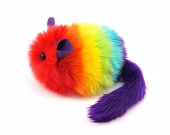 Stuffed Chinchilla Stuffed Animal Cute Plush Toy Chinchilla Kawaii Plushie Anuenue the Rainbow Chinchilla Cuddly Faux Fur Large 6x10 Inches