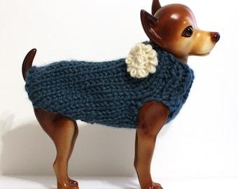 Dark Teal Dog Sweater - Dog Clothes