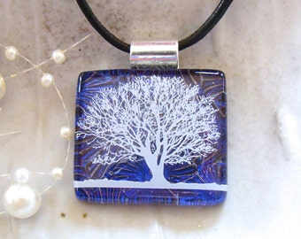 Cobalt Blue Necklace, Dichroic Pendant, Fused Glass Jewelry, Tree, Enamel, Necklace Included, A9