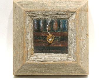 Heart on My Sleeve - Heart Art on Wax - Mixed Media Assemblage on Encaustic - Wood Collage - Celebratory - Romantic Love Keepsake - Wall Art