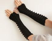 Gift for her-Black long Fingerless Gloves---knitted gloves,  fingerless gloves-ready to ship