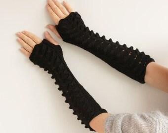 Long black Fingerless Gloves---Gift for her, knitted gloves, fingerless gloves-ready to ship