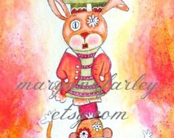Art Print, Lion, Monkey, Bunny, Elephant, Bird Totem Pole, 3.5 x 10.5, Pink Orange Yellow, Storybook Whimsical Art