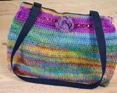 Colorful crocheted and felted handbag