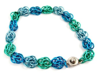 Green and Blue Bracelet, Colorful Chainmaille Jewelry, Teal Flower Pattern Floral Plus Size