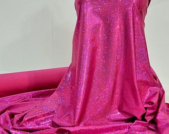 Shattered Glass Hologram Spandex Fuchsia  Fabric ...dance...cheer bows...gymnastics...costume..crafts...pageant