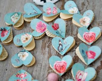 Paper garland, Valentines day, Rustic wedding decor, romantic wedding, Victorian Roses, AQUA, HEARTS, teal, duck egg blue, home decoration