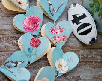 Blue wedding, paper garland, wedding garland, heart garland, pink roses, pink peonies, white peony, butterfly garland, PEONY,