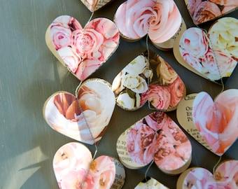 Garland, Easter decorations, paper garland, pale peach, blush, pink gold baby shower, bridal shower, wedding decor, rose gold, baby