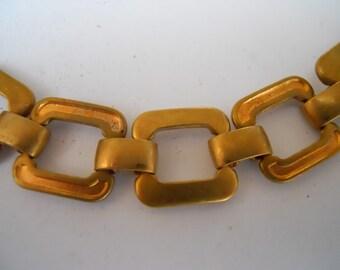Vintage Brass Industrial Square Link Bracelet Chain