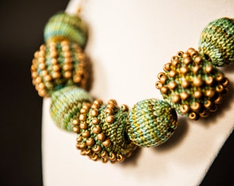 Green and Bronze Knitted Bead Necklace