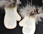 Pair of Mittens Snowflake Ornament for Display, Wood, Hand Cut, Hand Painted, CSSTeam, ECS