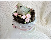 Two Cup Candy Jar with Bird Nest Lid, Hand Painted and Embellished, CSSTeam, ECS