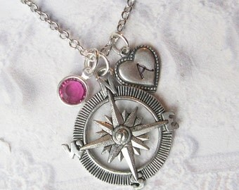 Silver Compass Necklace - Personalized Compass Birthstone - Graduation Graduate College High School