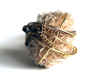 Sand Rose & Chain Ring that Rocks size 7.5