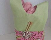 Custom Listing for Elaine -Pink and Lime Floral Japanese Knot Bag - Reversible Cotton Knitting/Crochet Project Bag