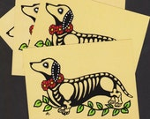 Day of the Dead Postcards Dog DACHSHUND Skeleton Pets - Donation to Austin Pets Alive