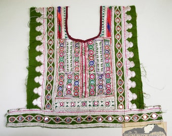 Vintage Dress Yoke from Aghanistan, Textile Remnant, Silver Threads, #15