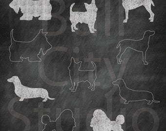 Chalkboard Clip Art Dogs Clipart Instant Digital Download Image Graphics for Scrapbooking