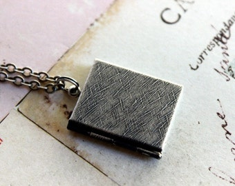 book locket necklace. silver ox jewelry