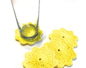 Sunshine Yellow Crocheted Coasters-Set Of Four