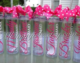 Set of 11: Personalized Bride, Bridesmaid, Flower-girl, Mother of Bride, Mother of the Groom tumbler bridal party gifts