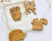 Forest Theme Bamboo Animal Holdiay Tree Ornament
