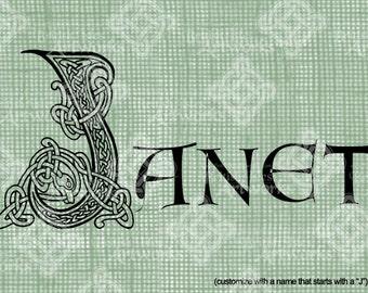 Digital Download Celtic Illumination Letter J, digi stamp, digis, St Patricks Day, Ornate digital collage sheet, Animal Inspired