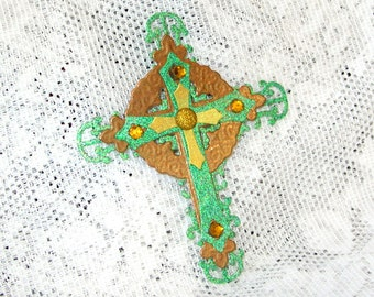 Celtic Cross scrapbooking Sticker, Self Adhesive Element, Embellishment, Green and Gold