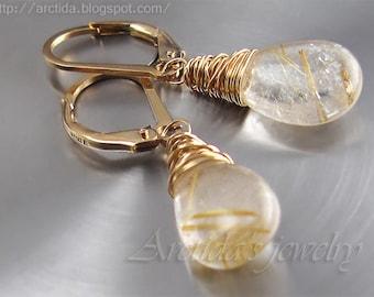 Golden Rutilated Quartz jewelry Golden Rutilated Quartz earrings - wedding jewelry pagan earrings yellow gold Wiccan jewelry rusteam - Alina