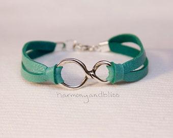 Infinity bracelet, infinity sign jewelry, turquoise, infinity sign bracelet, figure 8 charm, infinite charm, infinity jewelry, gift for her