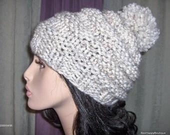 PATTERN Womans Pom Pom Knit Hat Slouchy Beehive Beanie Pom Pom Hat Knit Pom Pom Womens Knit Beehive Hat