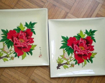ONE (not Two) yellow tray with peonies - only signed one available now