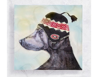 Weimaraner Dog Art - Dog with Arctic Sherpa Hat - Montreal Canadien - Canvas Print on 5x5 Art Block - Go Habs Go - Kids Playroom Decor