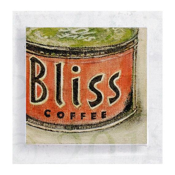Follow Your Bliss -  Ad Art  - Realism Still Life - Fine Art Print - 5x5 Canvas Print on Art Block - Wall Art - Vintage Tin Label Art