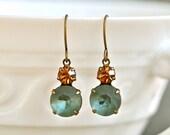Grey blue smokey topaz jewel rhinestone dangle earrings.Tiedupmemories
