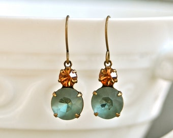Grey blue smokey topaz jewel rhinestone dangle earrings.Tiedupmemories
