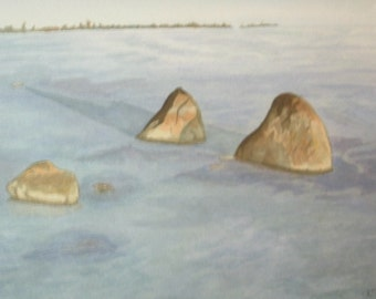 """Watercolor landscape painting original signed """"Three Sisters"""" 9"""" by 12"""""""