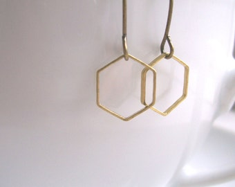 Delicate Honeycomb hexagon earrings - mixed metals golden brass geometric shapes - minimalist jewellery