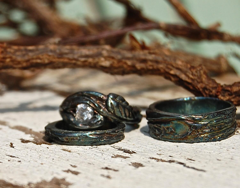 Wedding Rings Artisan BRANCH SET White Sapphire By Codysanantonio