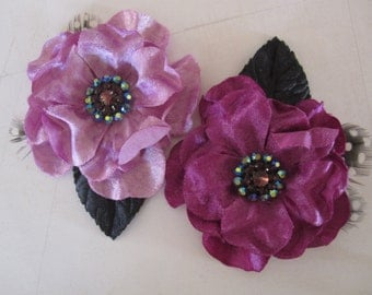 Purple Velvet and Feather Flowers  - 2 pcs - Millinery, Altered Couture, Hair Flowers - Embellishment