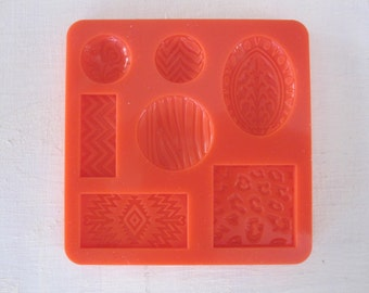 cabochon silicone rubber mold - 7 designs - resin, polymer clay, mod melts, candy, utee, plaster, wax, soap, epoxy clay
